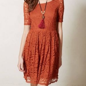 ANTHRO Foliage Lace Dress Copper Fit & Flare NEW